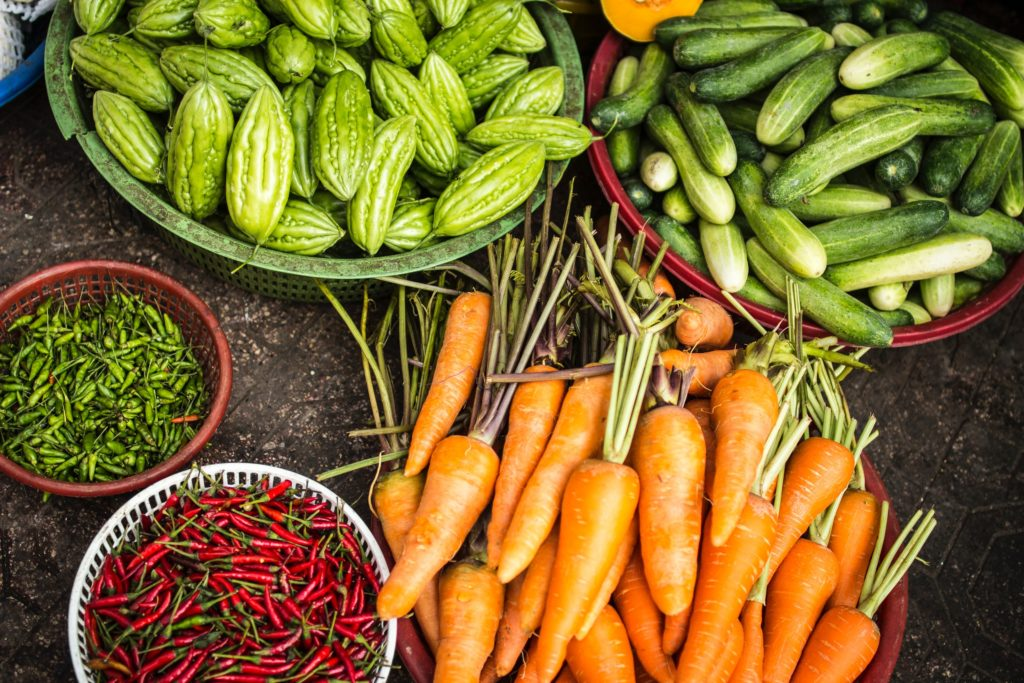 Carrots and other fresh vegetables